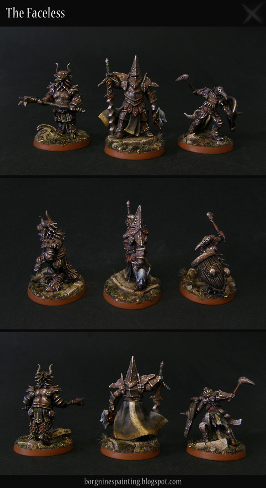 Heavily converted miniatures, a Stormcast Eternal warband Steelheart's Champions for Warhammer Underworlds: Shadespire, turned into grimdark, rusted, faceless knights, in an aesthetic resembling Dark Souls or AoS28.