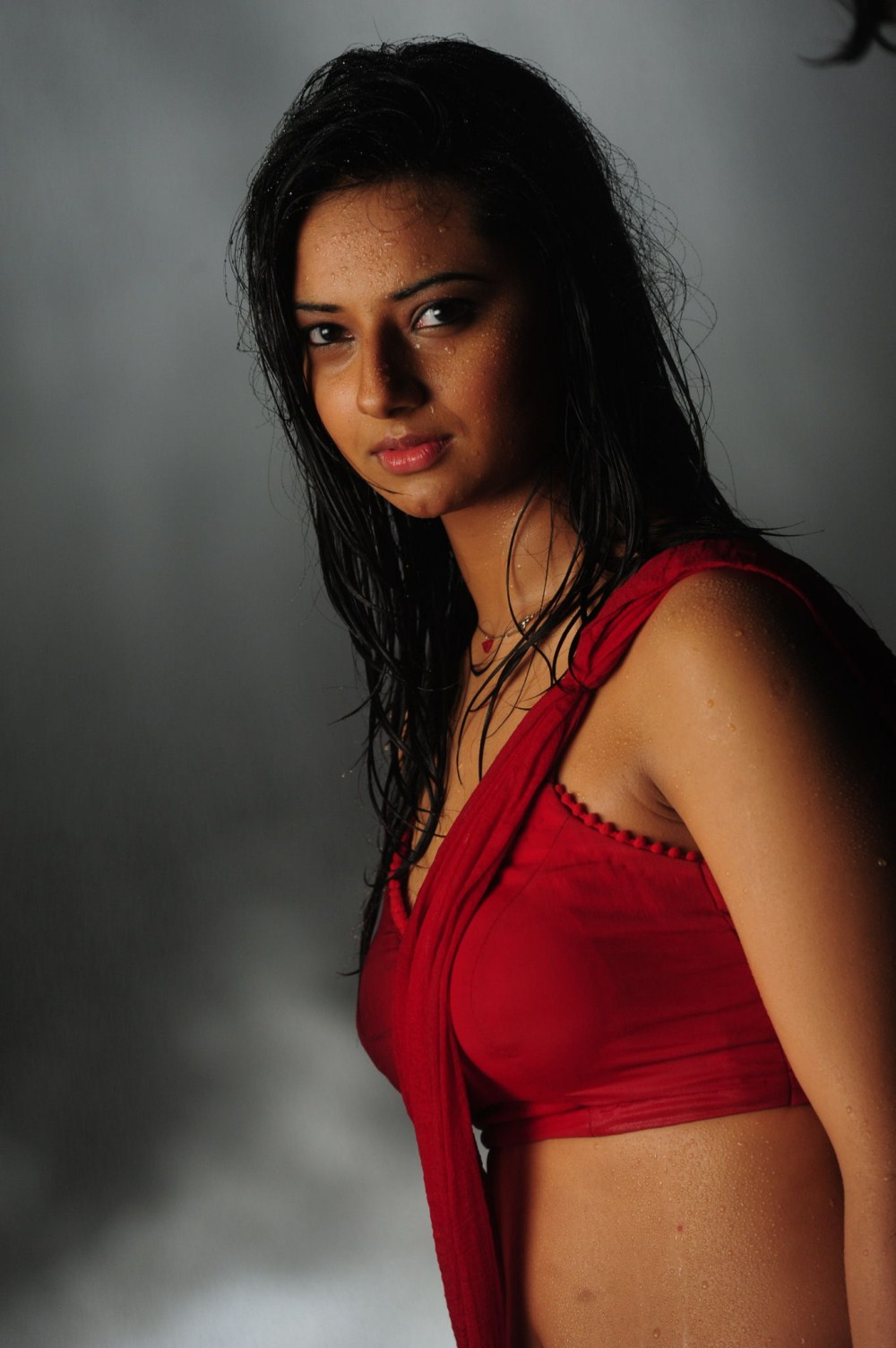 Telugu Cinema Wallpapers Isha Chawla Hot Wet Red Saree -2081