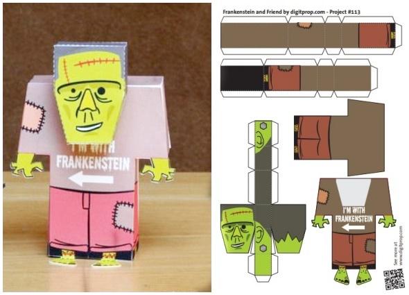 figuras papel, juguetes Halloween, origami, manualidades infantiles
