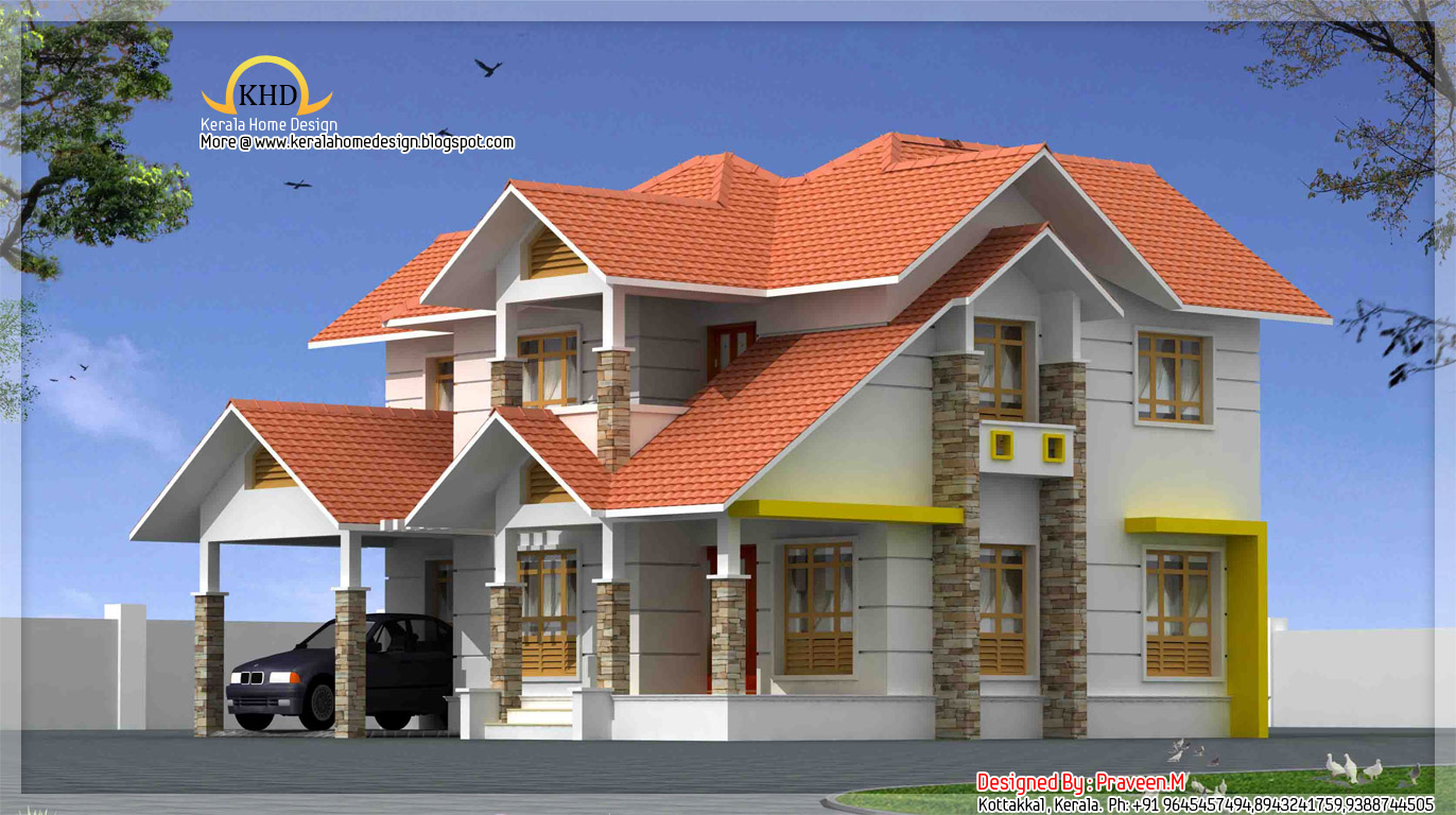 Beautiful duplex house elevation 2106 sq ft kerala for Plans for duplex homes