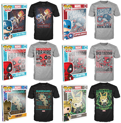 Marvel Pop! Tees T-Shirts by Funko featuring Captain America: Civil War (Captain America vs Iron Man), Captain America, Deadpool, the Guardians of the Galaxy's Groot & Loki