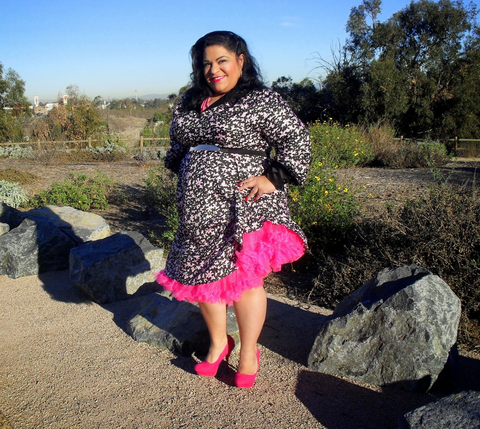 Hot Pink Petty Coat and Cabirias Stefania Dress Outfit of the Day  BBWGeneration