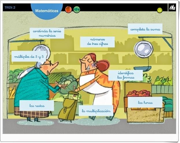 """""""Actividades interactivas de Matemáticas de 2º de Primaria"""" (Editorial La Galera. Proyecto Tren 2)"""