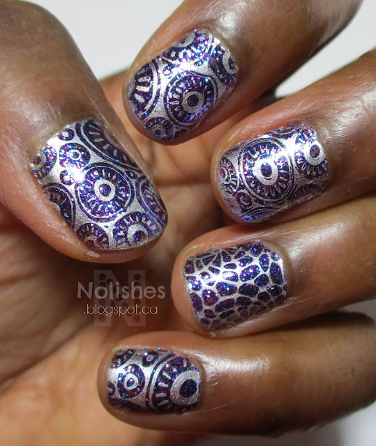 Purple and Silver Negative Space Stamping Glitter Mani using Nicole by OPI 'Gone Wishin'', and Sally Hansen 'Silver Sweep'