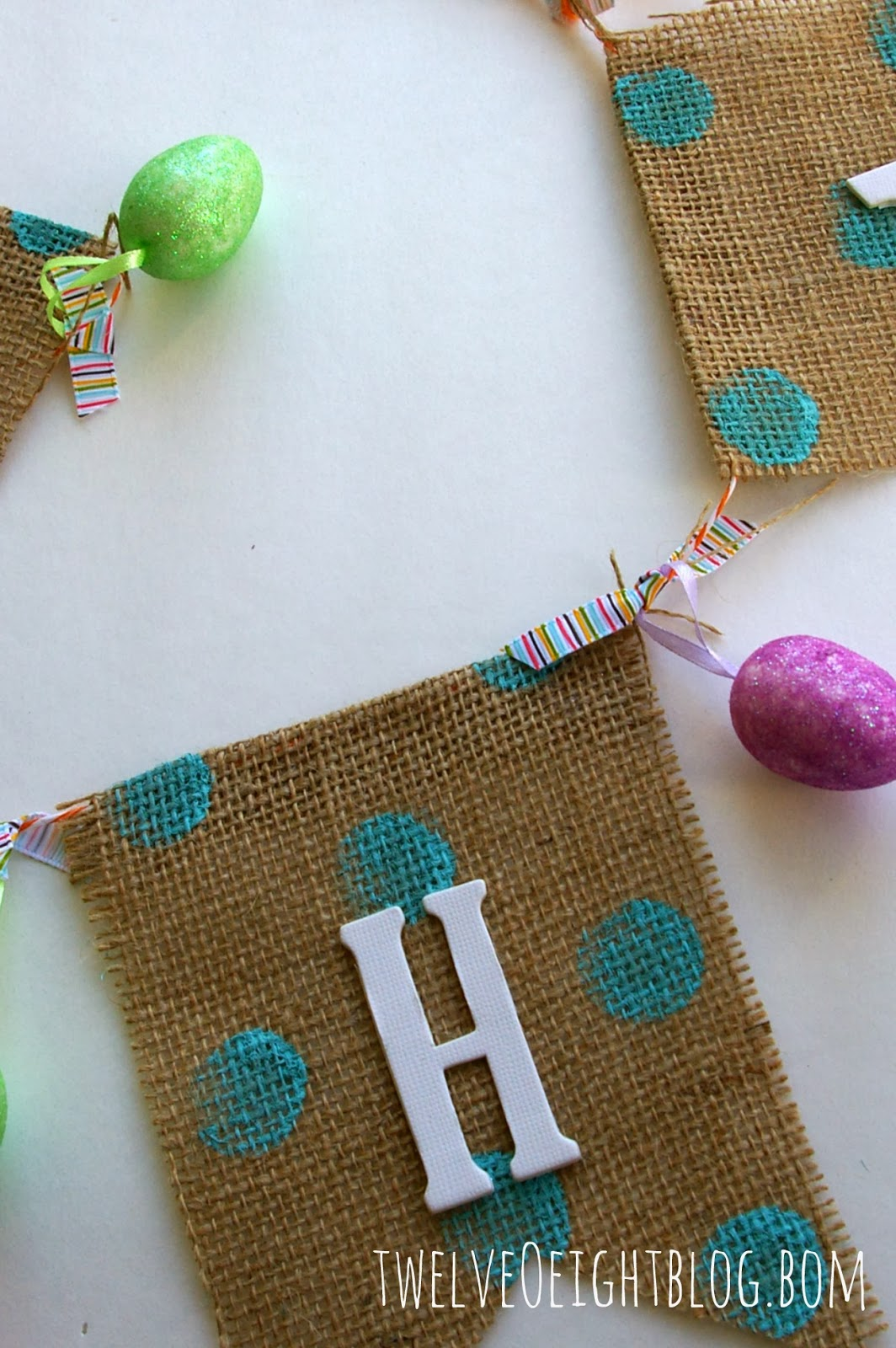 Dots  Burlap Happy Easter Banner
