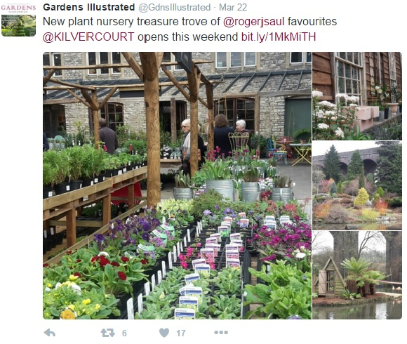 Gardens Illustrated tweet about the new plant nursery