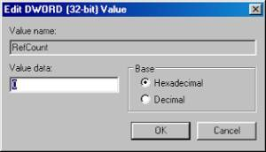 Edit DWORD [32-bit] value | Value name: RefCount | Value data: 0