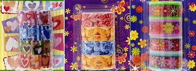 Клейкая лента с сердечками и цветочками