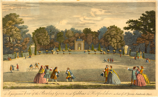 Picture of the Etching of The Bowling Green at Gubbins 1748. (courtesy of Yale Center for British Art, Paul Mellon Collection)