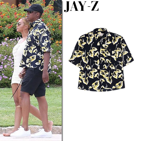 Jay-Z in black and yellow floral print marni shirt and black shorts fashion for men