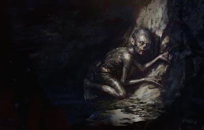 Gollum's journey commences, dibujo de Frédéric Bennett