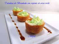 Tartaletas de Brandada de Bacalao con crujiente de arroz verde
