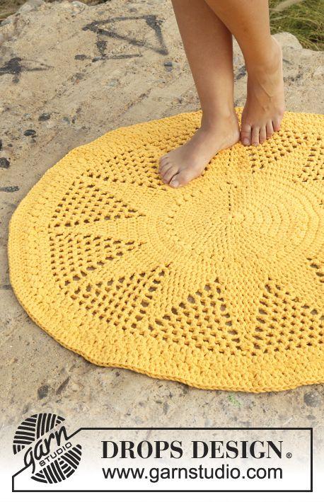 mes favoris tricot crochet mod le gratuit un tapis jaune citron au crochet. Black Bedroom Furniture Sets. Home Design Ideas