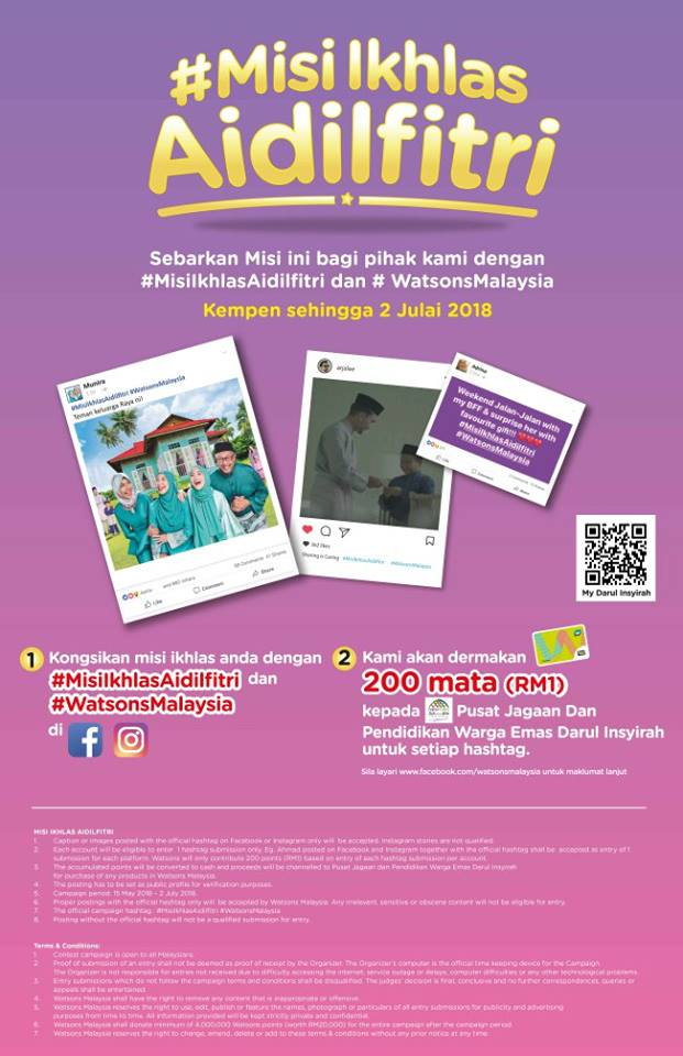 399bd08cfd6 Good news for shopping lovers as Watsons kicked off its 2018 Ramadan and  Aidilfitri campaign by calling upon Malaysians to propagate a do-good  culture by ...