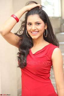 Mounika Telugu Actress in Red Sleeveless Dress Black Boots Spicy Pics 067.JPG