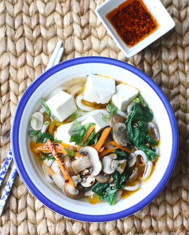 Mushroom & Tofu Udon Noodle by SeasonWithSpice.com