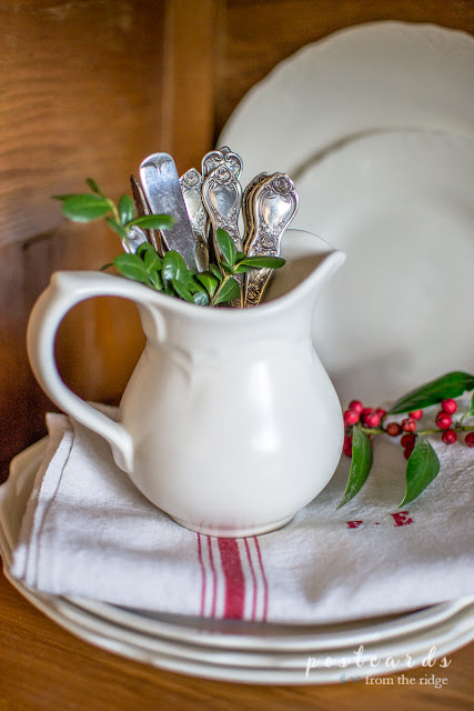 ironstone creamer with old silver spoons