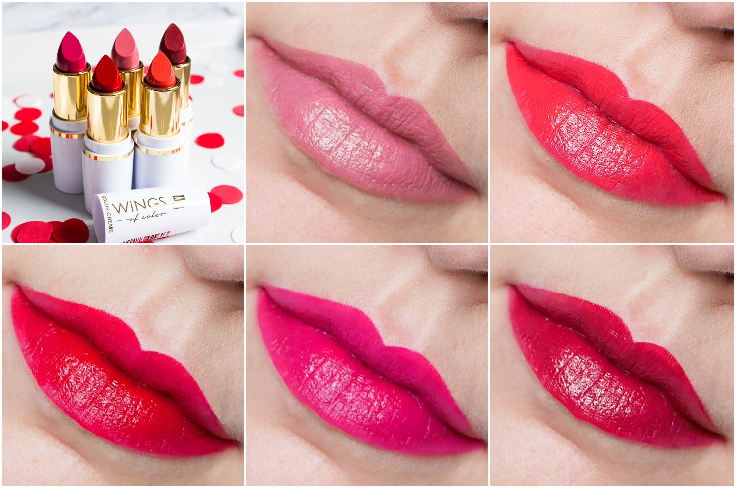 AA Wings of Colors Color Creme Lipstick 40 Cream Pink, 47 Orange Red, 48 Red Wine swatch