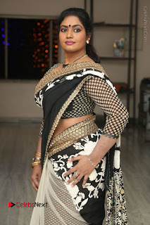 Telugu Actress Jayavani Jayavani Stills in Black Saree at Intlo Deyyam Nakem Bhayam Success Meet  0042.JPG