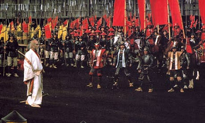 Tatsuay Nakadai as Lord Hidetora, Battle Scene, Armies Clashing, in Oscar winning Japanese war epic Ran, Directed by Akira Kurosawa