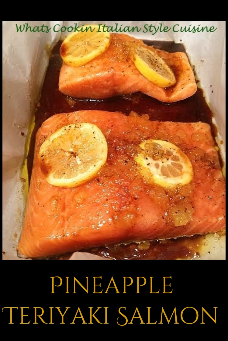 this is a piece of Pineapple Teriyaki Salmon it has crushed pineapple lemons and in an Asian style sauce cooked in parchment paper with lemon and  seasonings