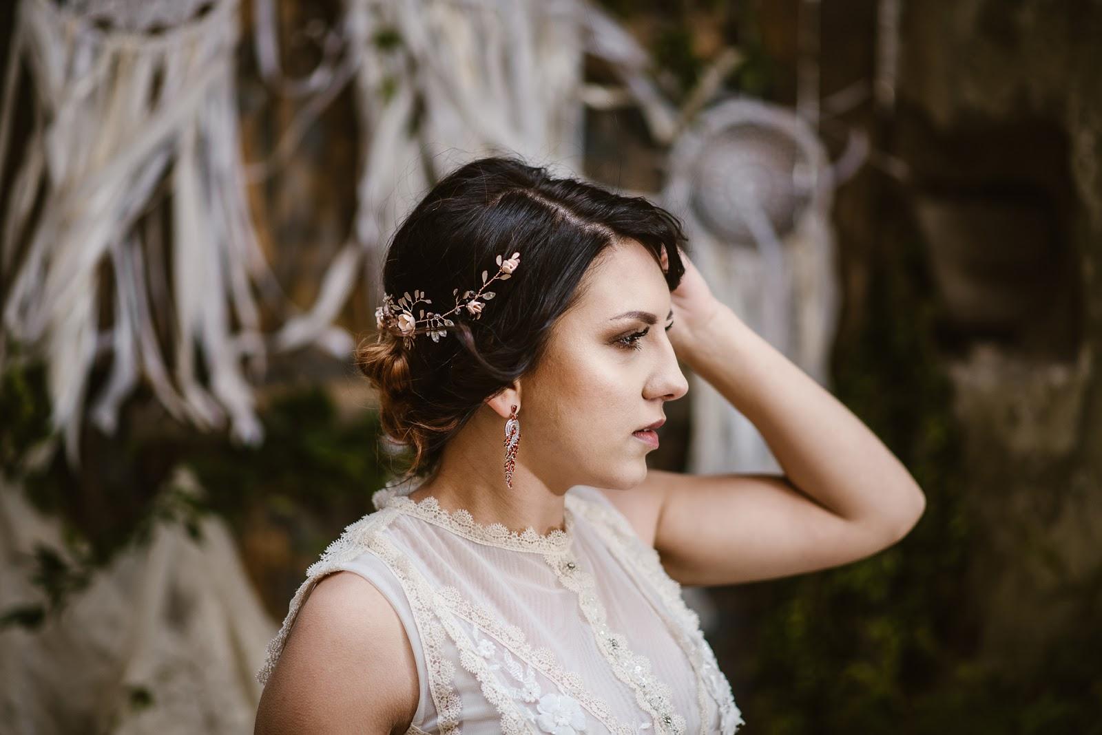 Biżuteryjna gałązka ślubna rose gold