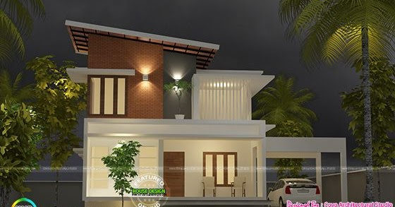 Beautiful Slanting Roof Mix 1900 Sq Ft Kerala Home