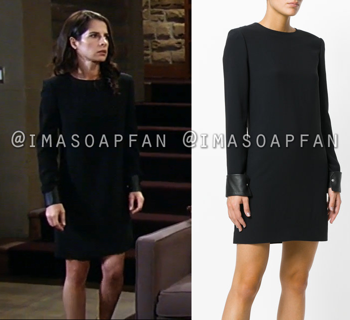 Sam Morgan, Kelly Monaco, Black Dress with Leather Cuffs, General Hospital, GH