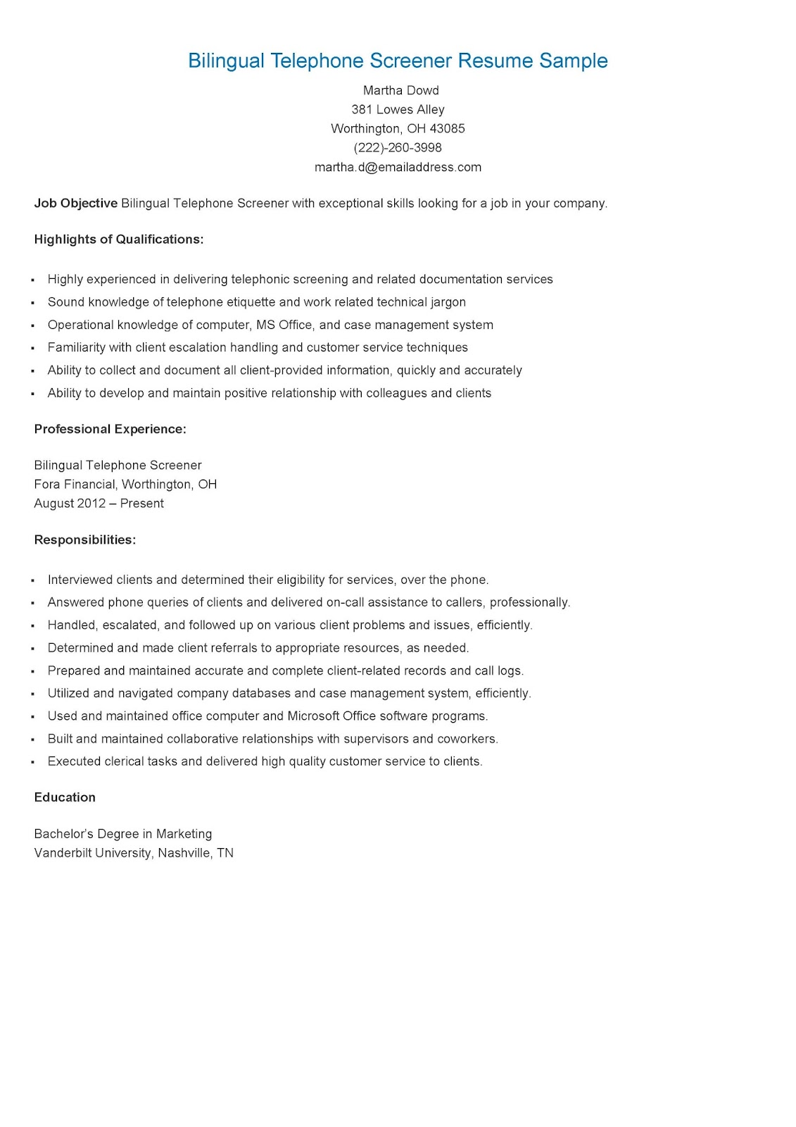 resume sles bilingual telephone screener resume sle