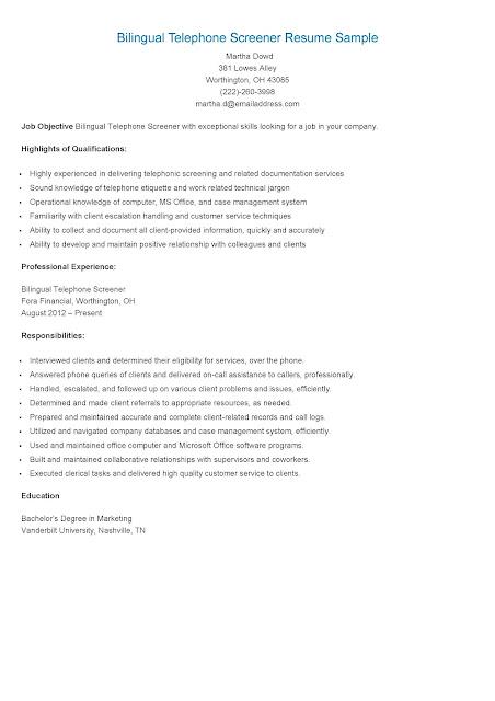 resume samples  bilingual telephone screener resume sample