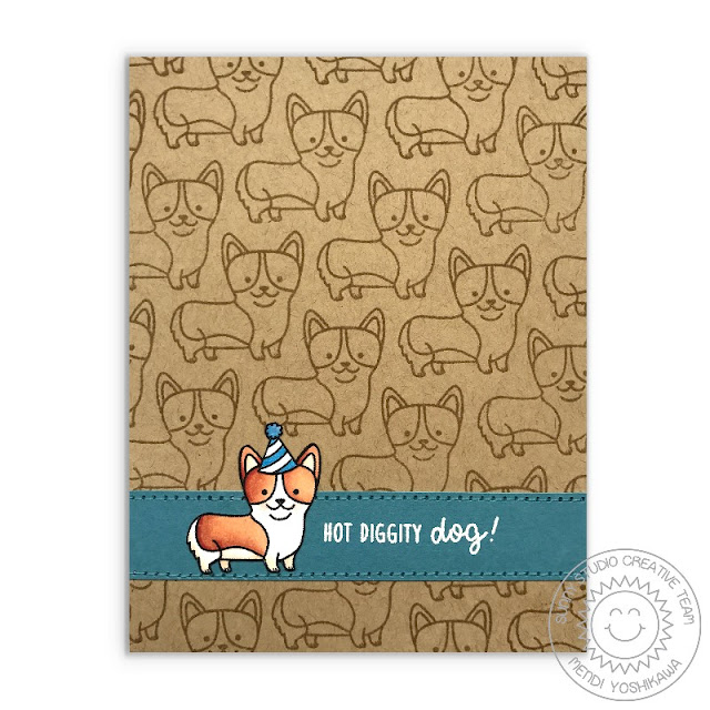 Sunny Studio Stamps: Party Pups Corgi Hot Diggity Dog Card by Mendi Yoshikawa
