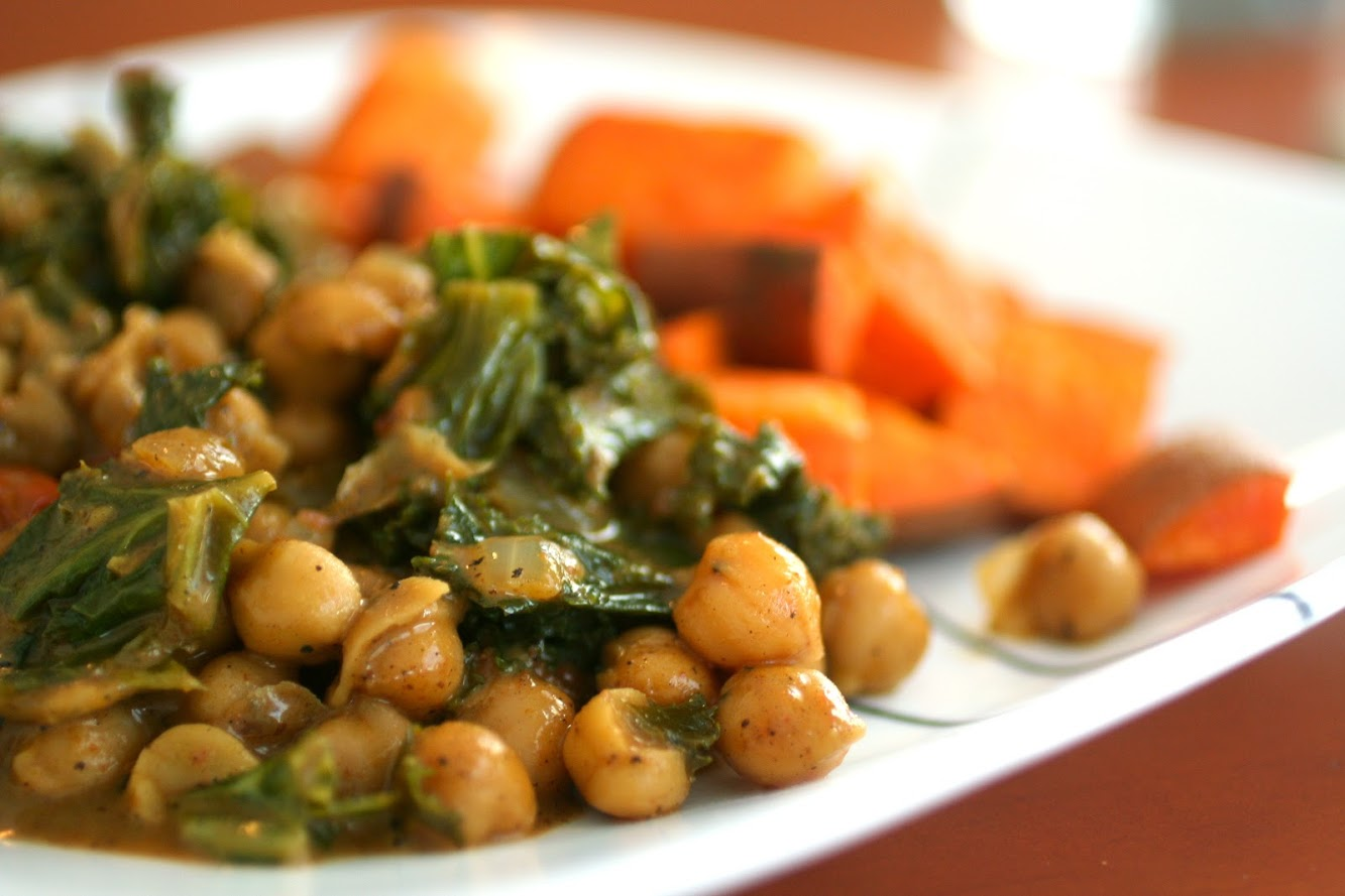 Coconut Curried Chickpeas and Spinach