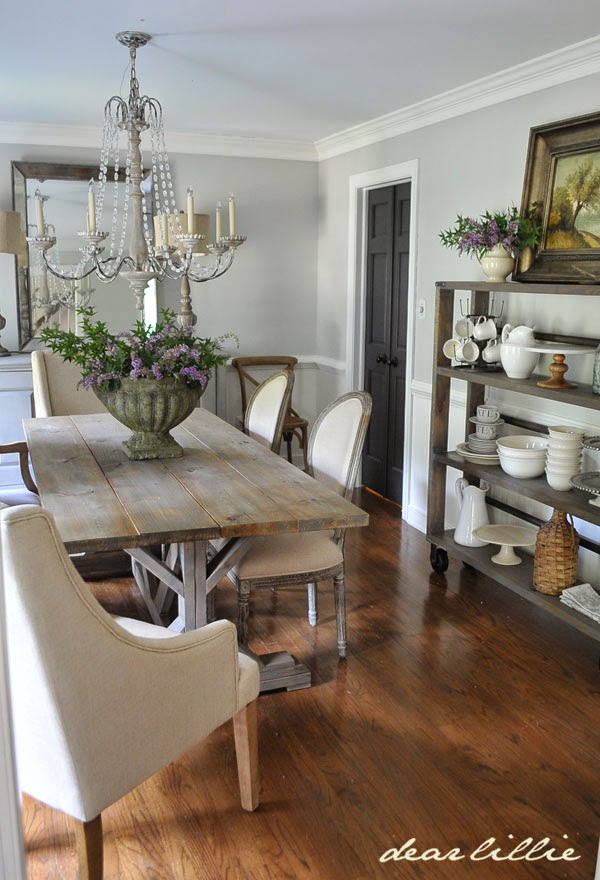 Dear lillie our updated dining room with a new farmhouse for Dining room farm table