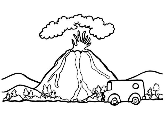 Gambar Mewarnai Gunung Merapi