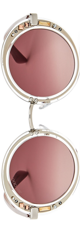Jimmy Choo 50mm Embellished Round Sunglasses