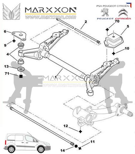 Peugeot Citroen Rear Axle-Driveshaft-Differential-Marxxon