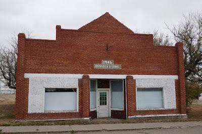 Tompkins, Saskatchewan, store front, brick facade, historical