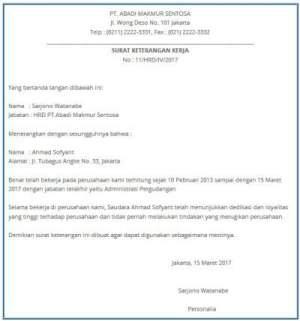 Contoh Surat Keterangan Kerja Perusahaan Terbaru Agen Surat
