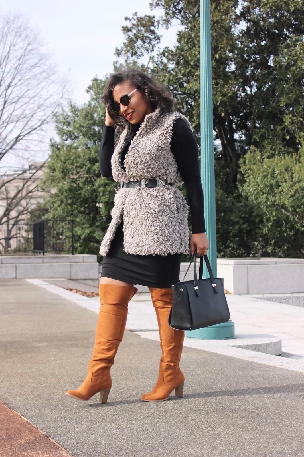 faux fur vest, fur vest, styling a vest, shaggy vest, forever21 vest