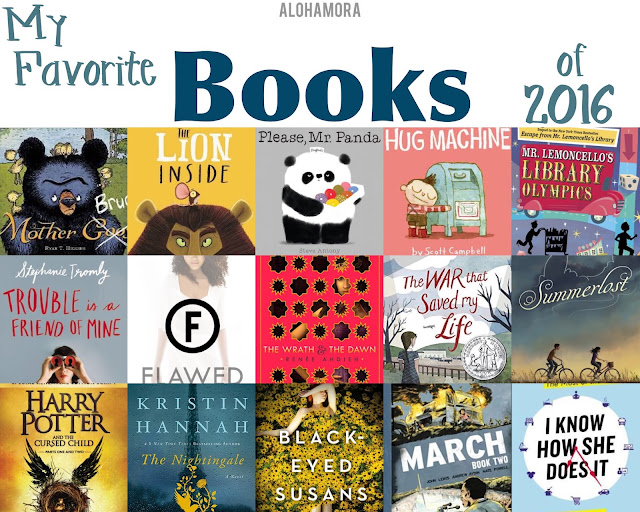 My 15 Favorite Books of 2016. Picture Books, Middle Grade Fiction, Young Adult Lit, Adult Literature, and Non-Fiction books. Amazing reads.  Fast reads, Great books.  Books for all ages boys and girls alike will enjoy.  Lion Inside, Flawed, Lemoncello, historical fiction, graphic novel, non-fiction, mystery, Nightingale, Harry Potter, civil rights, contemporary, dystopian, amazing books. Alohamora Open a Book http://alohamoraopenabook.blogspot.com/