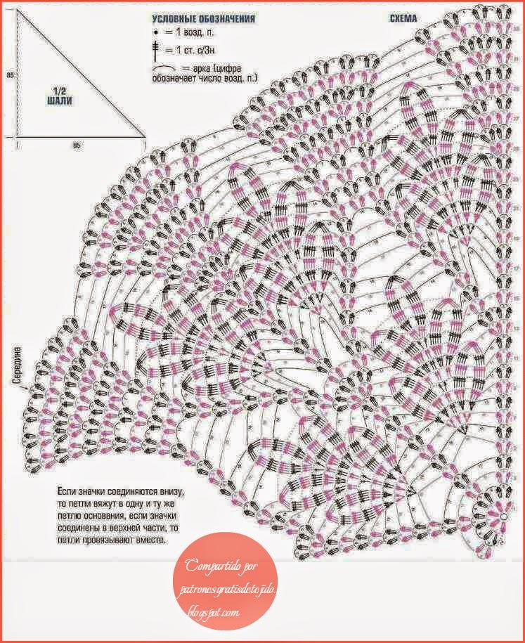 Magnífico chal | Crochet y Dos agujas - Patrones de tejido