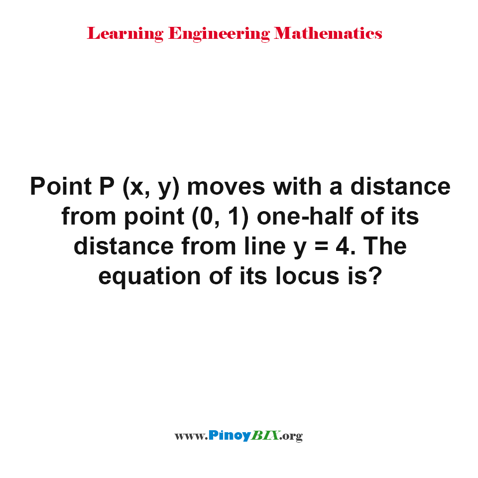 What is the equation of its locus?