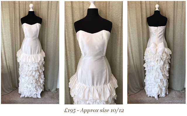 1980s sweetheart strapless drop waist ruffle gatsby vintage wedding dress available from vintage lane bridal boutique bolton manchester