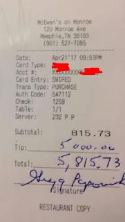 Gregg Popovich $5000 Tip