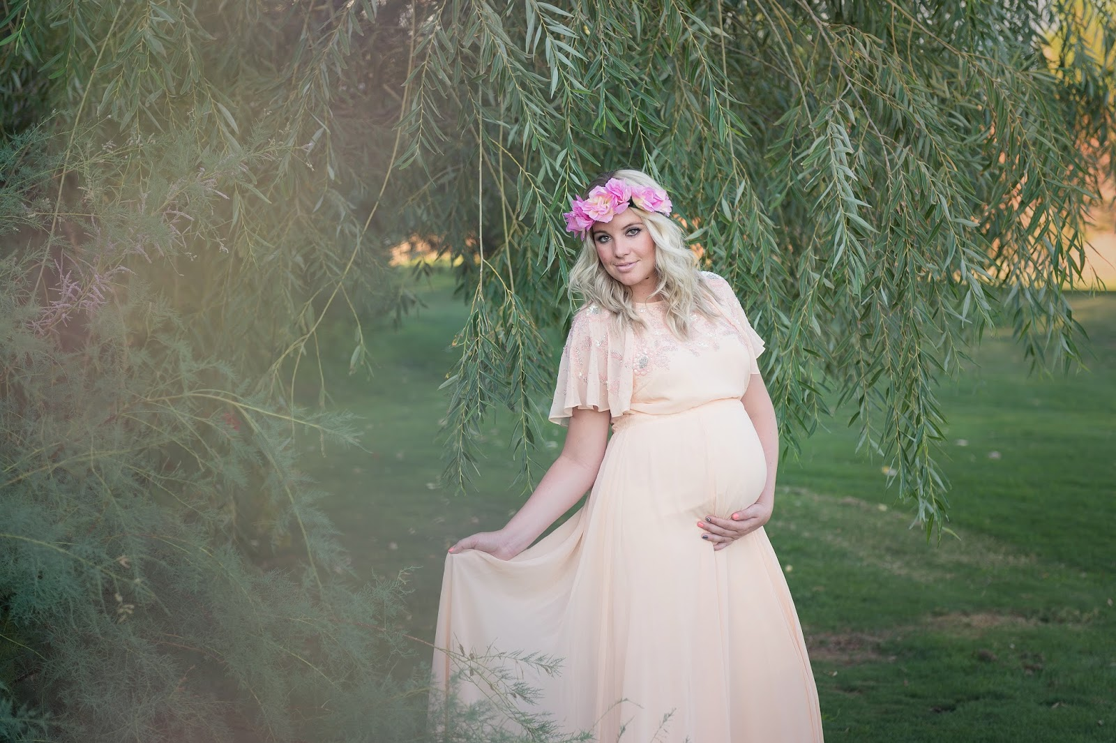Modest Fashion Blogger, Floral Crown, Maternity Dress