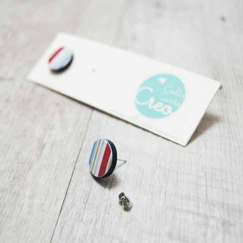 Striped Paper Disc Earrings