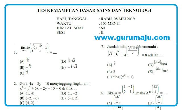Soal SBMPTN 2019 SAINTEK + Kunci Jawaban