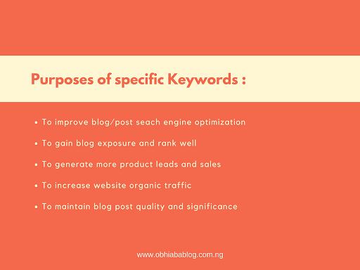 purposes of using keywords