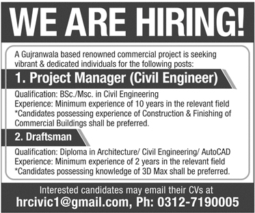Project Manager, Draftsman Required In 20 January 2019