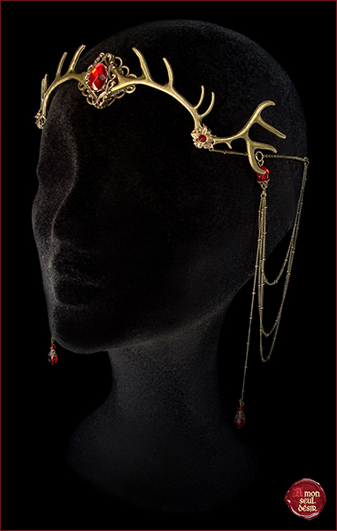 diademe cerf baratheon bronze rouge medieval renaissance fantasy woodland pagan couronne mariage elfe foret mythical circlet antlers deer crown wiccan forest spirit elf elven fairy red
